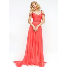 Elegant Off The Shoulder Long Coral Chiffon Flowing Prom Dress