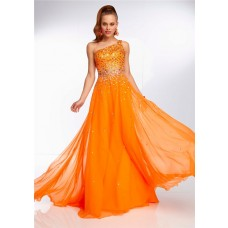 Elegant One Shoulder Long Neon Orange Chiffon Beaded Prom Dress Open Back