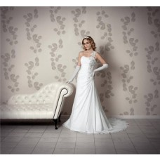 Elegant One Shoulder Strap Draped Chiffon Lace Beaded Corset Wedding Dress