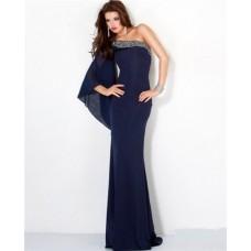 Elegant Sheath One Shoulder Flare Sleeve Long Navy Blue Chiffon Evening Dress