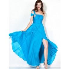 Elegant Sheath One Shoulder Long Blue Chiffon Evening Dress With Split