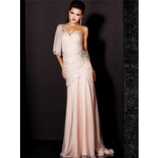 Elegant Sheath One Shoulder Long Light Pink Chiffon Beaded Evening Wear Dress