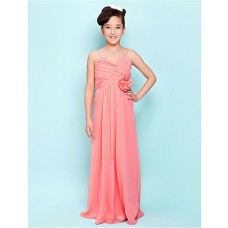 Elegant Sheath Spaghetti Strap Long Watermelon Chiffon Junior Bridesmaid Dress