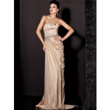 Elegant Sheath Strapless Long Champagne Silk Beaded Evening Dress