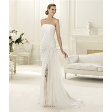 Elegant Sheath Strapless Ruched Chiffon Beach Wedding Dress With Lace Slit