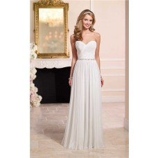 Elegant Sheath Sweetheart Chiffon Beach Wedding Dress Beaded Belt