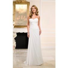 Elegant Sheath Sweetheart Ruched Chiffon Beach Wedding Dress Corset Back