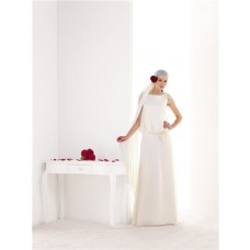 Elegant Sheath V Back Chiffon Flowers Bohemian Beach Wedding Dress Sweep Train