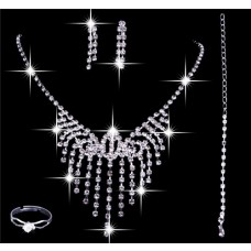Elegant Shining crystals Wedding Bridal Jewelry Set,Including Necklace,Earrings and Ring