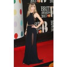 Elegant Sleeveless Long Black Chiffon Taylor Swift Red Carpet Celebrity Dress