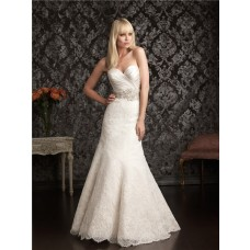 Elegant Slim Mermaid Sweetheart Satin Lace Wedding Dress With Crystal Pearl Belt