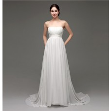 Elegant Strapless Empire Waist Chiffon Beach Wedding Dress With Buttons