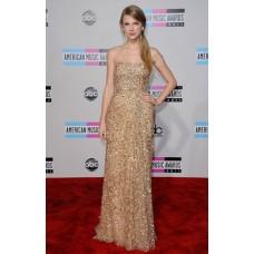 Elegant Strapless Long Gold Sequined Taylor Swift Red Carpet Celebrity Dress