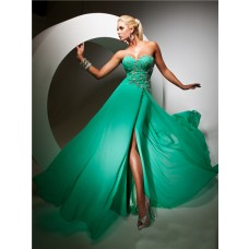 Elegant Sweetheart Long Emerald Green Chiffon Evening Prom Dress With Beading