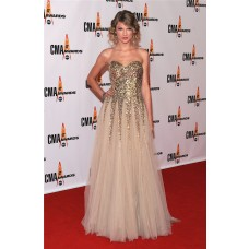 Elegant Sweetheart Long Gold Sequined Taylor Swift Red Carpet Celebrity Dress