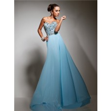 Elegant Sweetheart Long Light Blue Chiffon Beaded Crystals Prom Dress