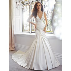 Elegant Trumpet Mermaid V Neckline Draped Satin Wedding Dress With Crystals
