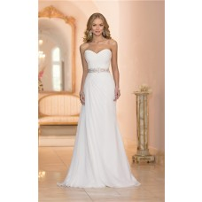 Elegant Trumpet Strapless Chiffon Ruched Corset Wedding Dress Crystals Belt