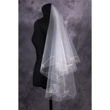 Elegant Tulle Embroidery Beaded Fingertip Length Wedding Bridal Veil