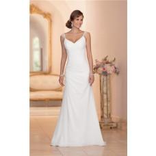 Elegant V Neck Open Back Chiffon Draped Wedding Dress With Lace Straps