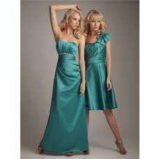 Elegant sweetheart floor length long jade silk bridesmaid dress with beading