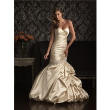 Fabulous Mermaid Sweetheart Champagne Silk Ruched Wedding Dress With Pick Up Skirt