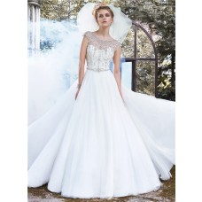 Fairy Ball Gown Bateau Neckline Backless Tulle Crystal Beaded Wedding Dress