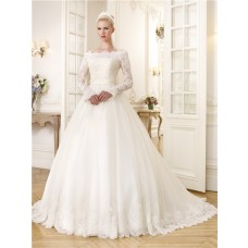 Fairy Ball Gown Off The Shoulder Long Sleeve Organza Lace Wedding Dress With Sash