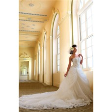 Fairy Ball Gown Strapless Tulle Lace Crystal Corset Wedding Dress With Long Train