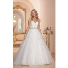 Fairy Ball Gown Sweetheart Organza Ruffle Wedding Dress With Crystals Belt