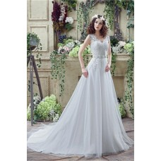 Fairy Princess A Line Tulle Lace Wedding Dress With Crystals Belt Buttons