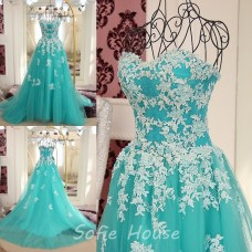Fairy Princess Ball Gown Strapless Aqua Tulle Lace Prom Dress