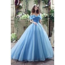 Fairy Tale Ball Gown Off The Shoulder Blue Organza Corset Wedding Dress