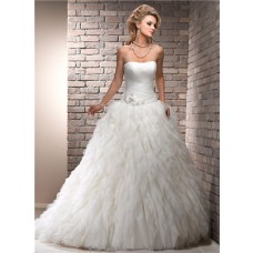Fairy Tale Ball Gown Strapless Puffy Ivory Tulle Wedding Dress Corset Back
