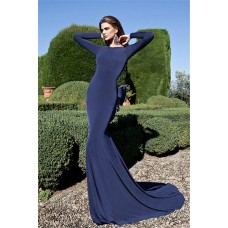 Fantastic Backless Long Sleeve Navy Jersey Evening Prom Dress With Bow Back