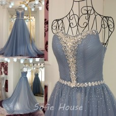 Fantastic Ball Gown Strapless Grey Tulle Beaded Prom Dress With Sash