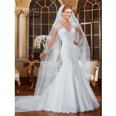 Fantastic Mermaid Scalloped Neck Sheer Long Sleeve Tulle Lace Wedding Dress