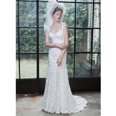 Fantastic Mermaid Sweetheart Cap Sleeve Open Back Venice Lace Wedding Dress
