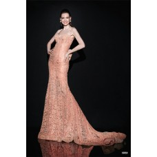 Fantastic Sweetheart Strap Backless Dusty Rose Lace Evening Prom Dress With Bow