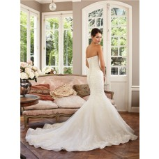 Fantasy Mermaid Scooped Strapless Neckline Organza Lace Wedding Dress Chapel Train