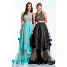 Fashion A Line Long Black Tulle Ruffle Beaded Two Piece Evening Prom Dress