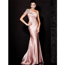 Fashion Couture One Shoulder Long Light Pink Silk Beaded Evening Wear Dress