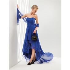 Fashion Cute Strapless Sweetheart Neckline High Low Royal Blue Chiffon Party Prom Dress