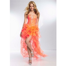Fashion High Low Sweetheart Neon Orange Organza Ruffle Beaded Prom Dress Corset Back