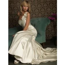 Fashion Mermaid One Shoulder Ivory Satin Wedding Dress With Ruching