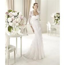 Fashion Mermaid Sweetheart Empire Waist Lace Wedding Dress With Long Sleeves Jacket