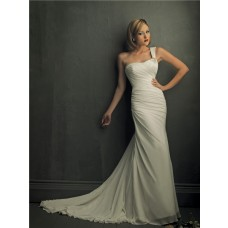 Fashion Sheath One Shoulder Chiffon Garden Beach Wedding Dress With Ruching