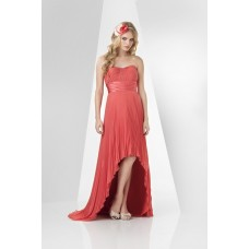 Fashion Strapless High Low Coral Charmeuse Chiffon Pleated Wedding Party Bridesmaid Dress