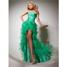 Fashion Strapless High Low Emerald Green Organza Prom Dress With Ruffles Beading