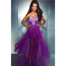 Fashion Sweetheart High Low Purple Tulle Beaded Sequin Prom Dress